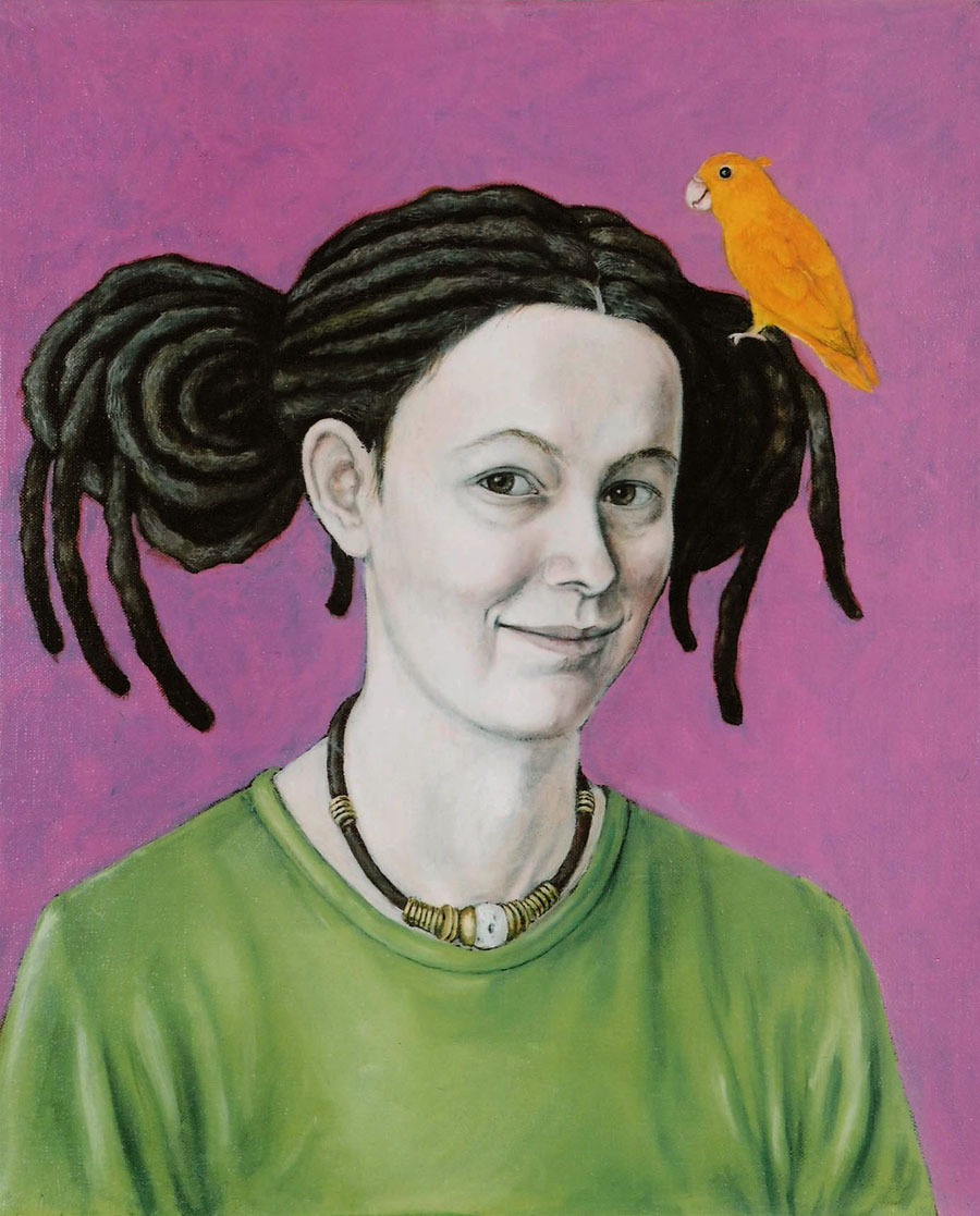 Marie Ban Selfportrait with a canary